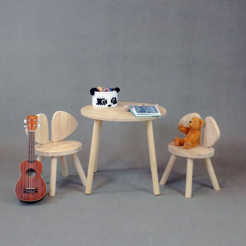 Tömörfa gyerek asztal és szék szett