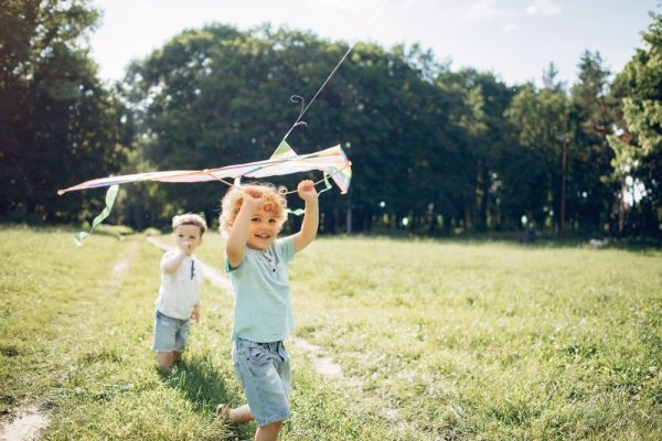 Little child in a summer field. Kids playing with a Kite