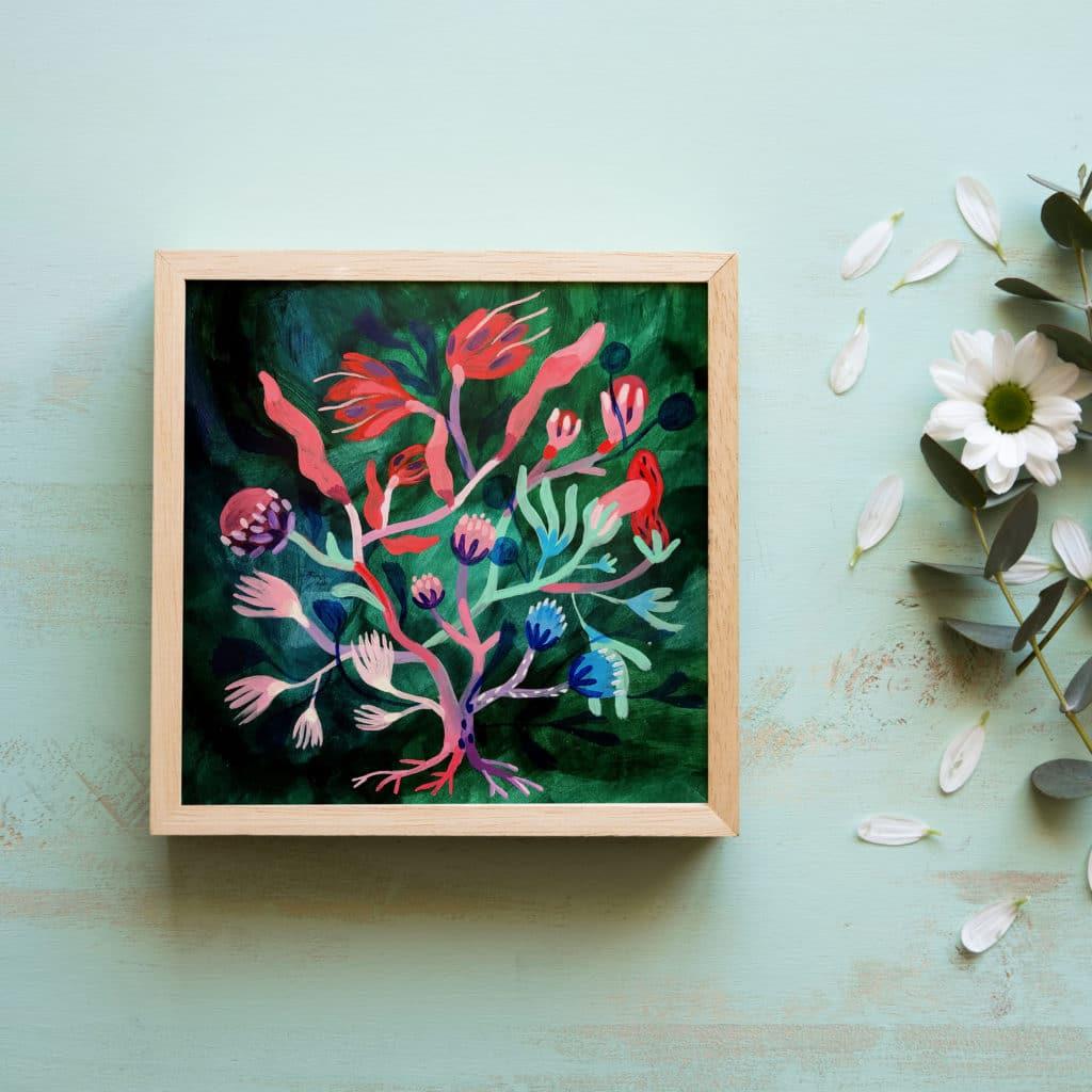 fa akrill festmény csibi boróka