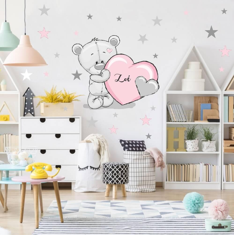 Falmatrica - Púder rózsaszín maci csillagokkal