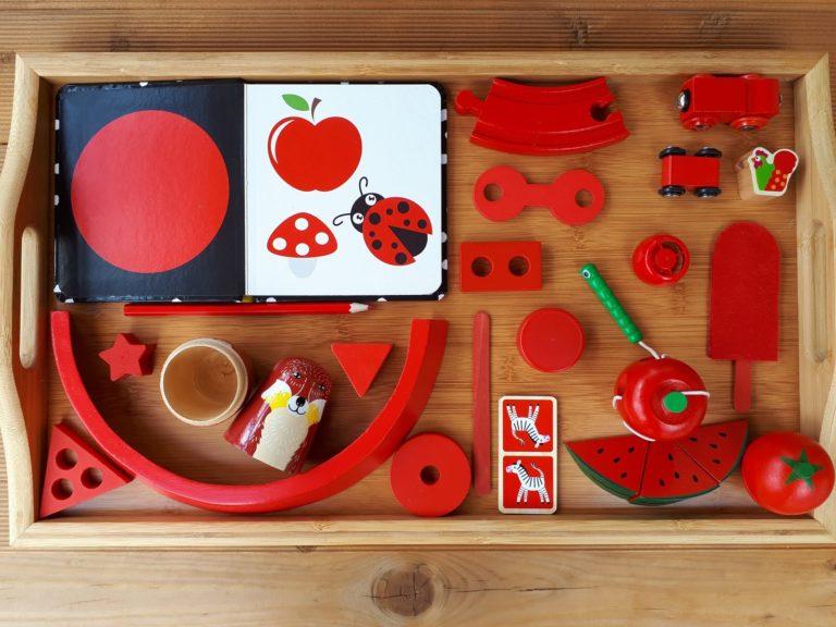 Montessori színtanulós tálca | piros hét