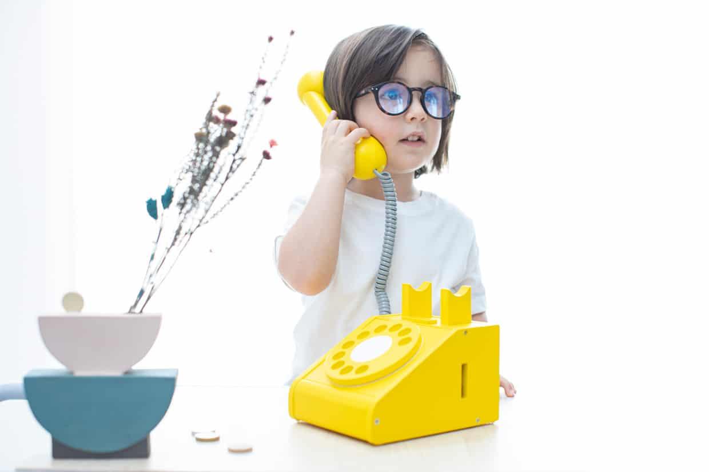 Fa retro telefon - Sárga