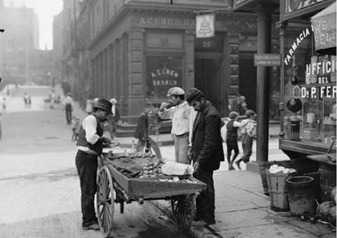 utcai étel árusok